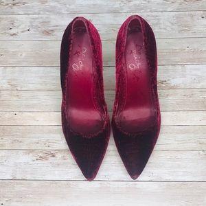 Alice + Olivia Shoes - ALICE + OLIVIA | Burgundy Velvet Pumps